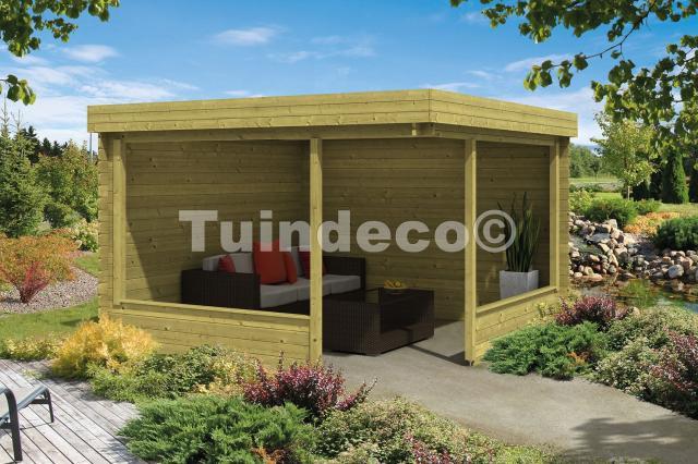 Blokhut Barbara met veranda platdak Geimpregneerd GEPLAATST