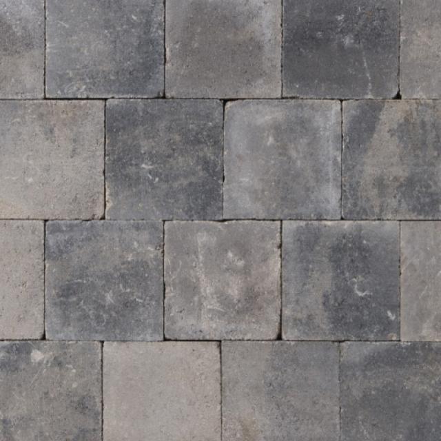 Klinkers Stenen Abbeystones Getrommeld 20x20x6cm Grijszwart