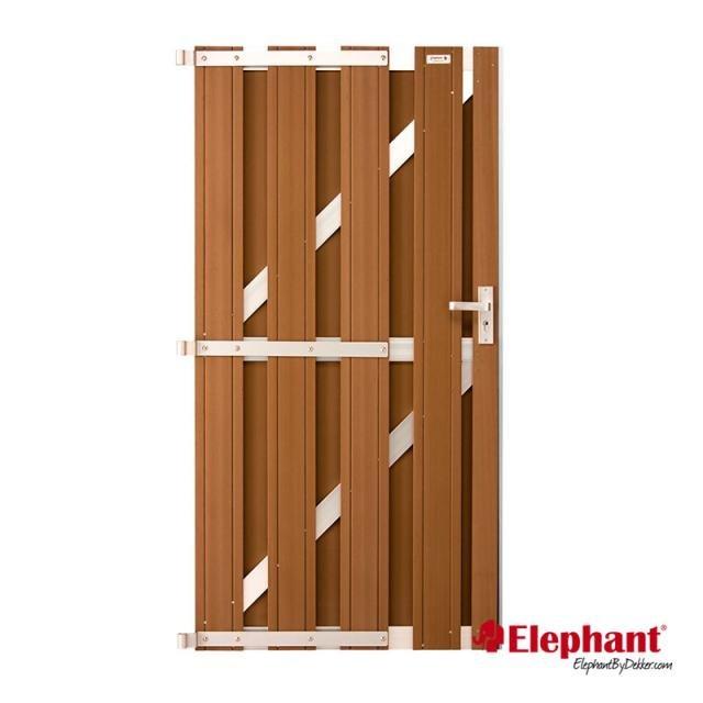 Design poort bruin / aluminium incl. plaatsen