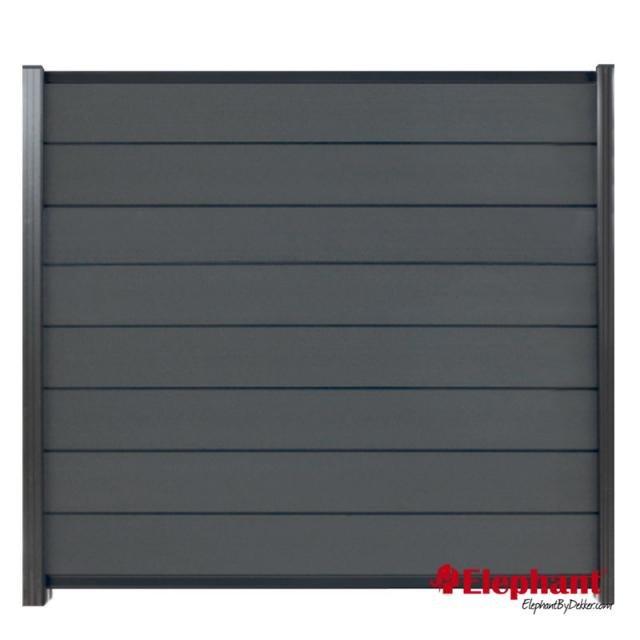 Composiet Modulair scherm rock grey /  antra gepoedercoat 180x180 cm incl. plaatsen