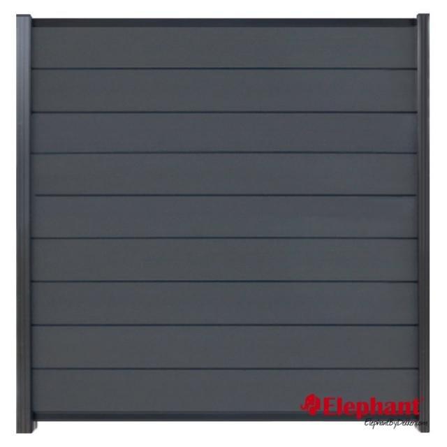 Composiet Modulair scherm rock grey /  antra gepoedercoat 180x200 cm incl. plaatsen