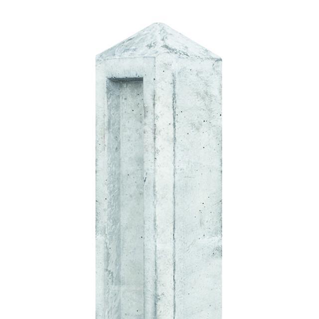 Betonpaal tuinhek wit/grijs diamantkop 10x10x104cm voor 1 plaat