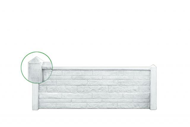 Betonpaal VLIET tuinhek wit/grijs diamantkop 10x10x104cm tbv 1 plaat 1.52104