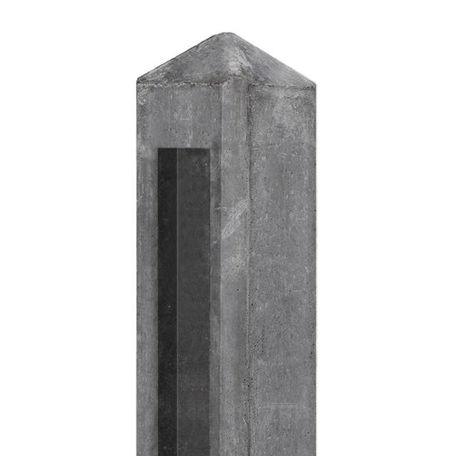 Betonpaal HUNZE tuinhek antraciet diamantkop 10x10x145cm tbv 2 platen 1.53140