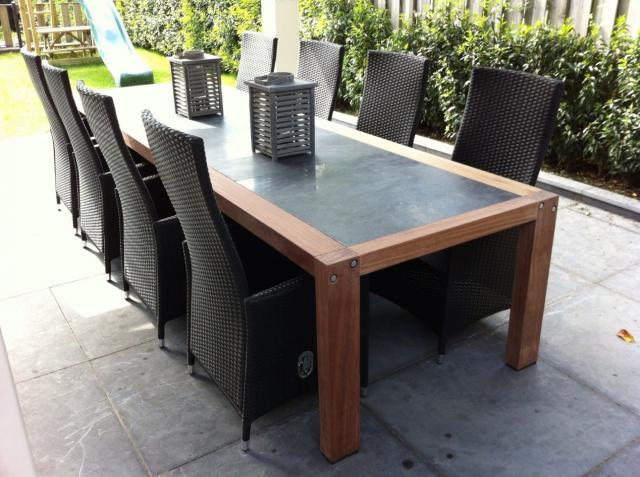Hardhouten tafel met blokpoten Curitiba 300x100 50025