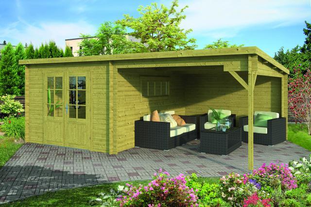 Blokhut Svend met veranda Lessenaarsdak geimpregneerd