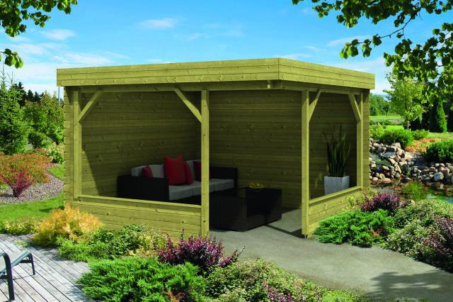 Blokhut Barbara met veranda plat dak Geimpregneerd