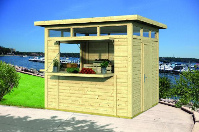 Blokhut Kiosk Modern Plat dak