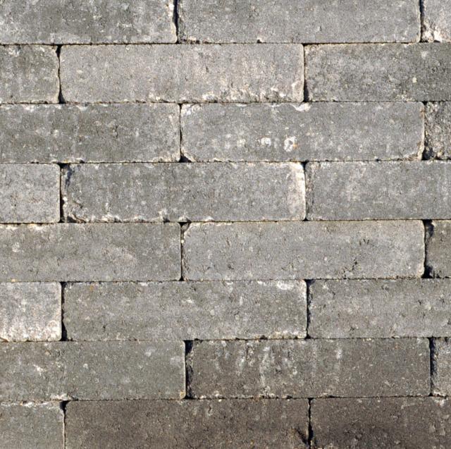 Klinkers Stenen Abbeystones Getrommeld 20x5x7cm Grijs/zwart