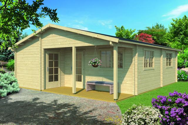 Blokhut Ardee met veranda zadeldak/puntdak geplaatst