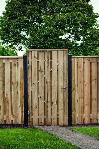 Tuindeur Privacy Grenen  incl. plaatsen 140x200cm met RVS slot 11.1320