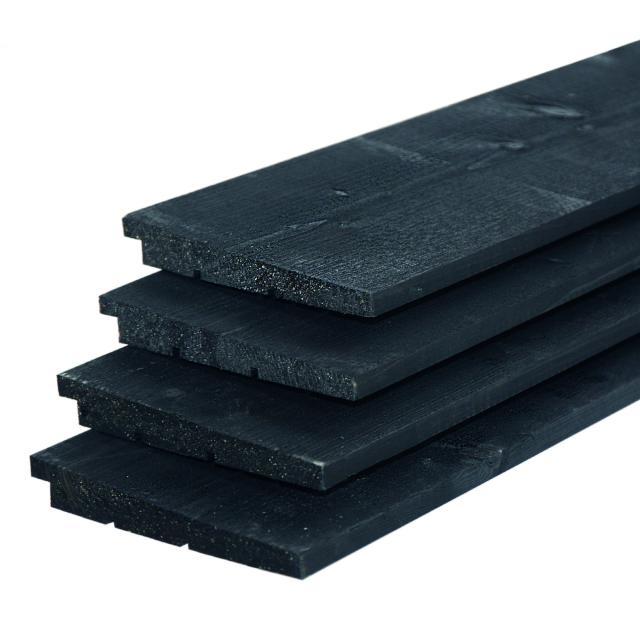 IJsselrabat vuren zwart gespoten 1.1-2.2x19.5x300cm 37.8730ZW