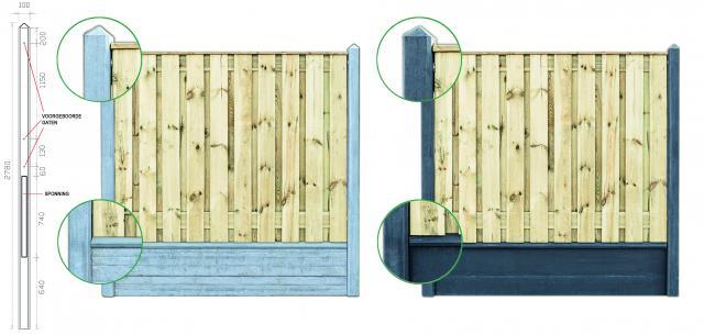 Hout-beton Hardhout Dronten 150x180 dubbele onderplaat incl. plaatsen