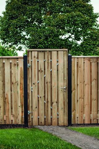 Tuindeur Privacy Vuren incl. plaatsen 130x200cm met RVS slot