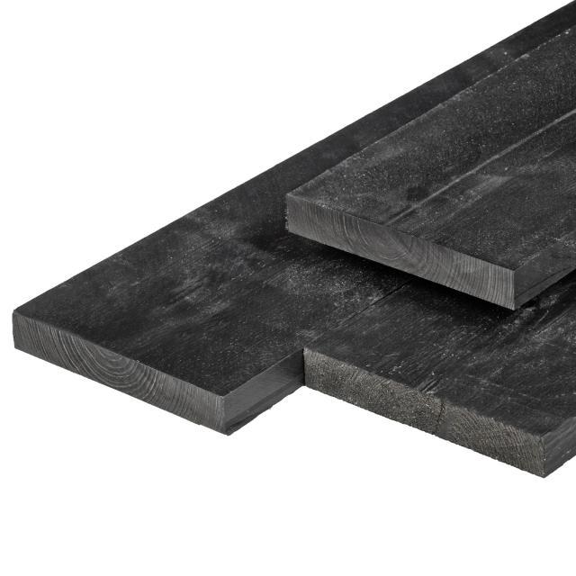 Grenen plank zwart gespoten geschaafd 2.0x20x400cm 37.2400ZW