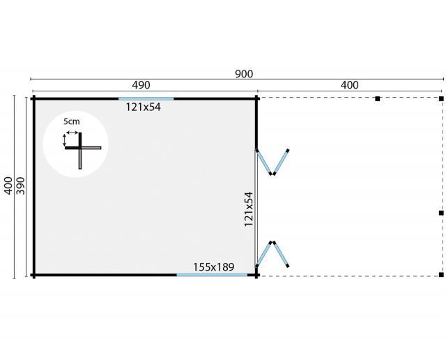 Blokhut Casper Plat dak 40.0891