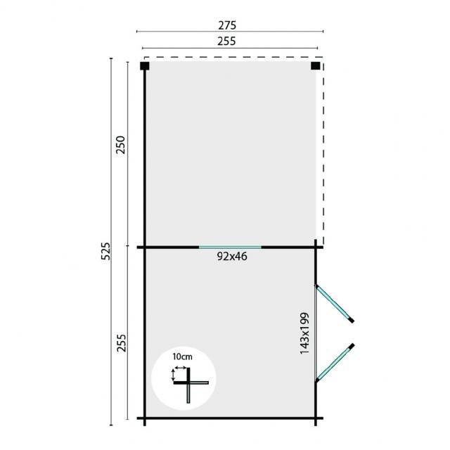 Blokhut Brenda Plat dak 40.0747