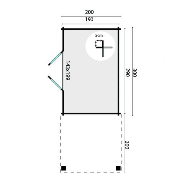 Blokhut Middelmodern Plat dak 40.0792