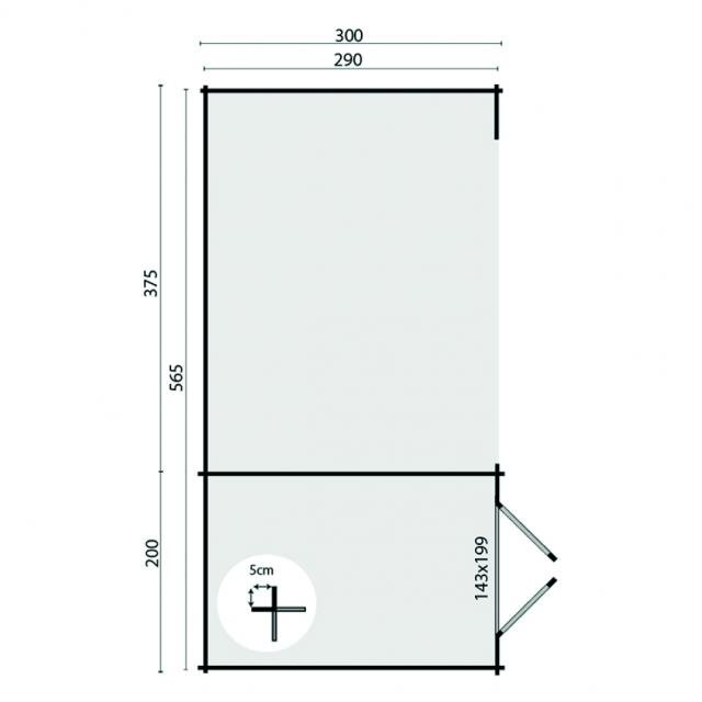 Blokhut Megamodern Plat dak 40.0757
