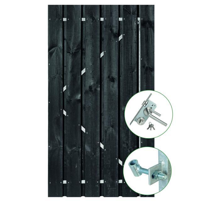 Tuindeur Privacy 100x200cm zwart gespoten met RVS slot