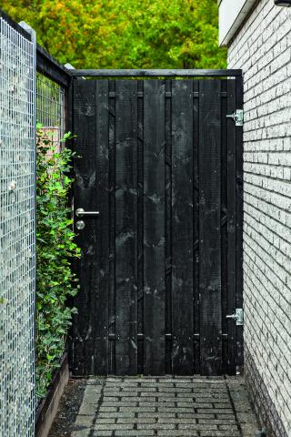 Tuindeur privacy 100x200cm zwart gespoten incl. plaatsen
