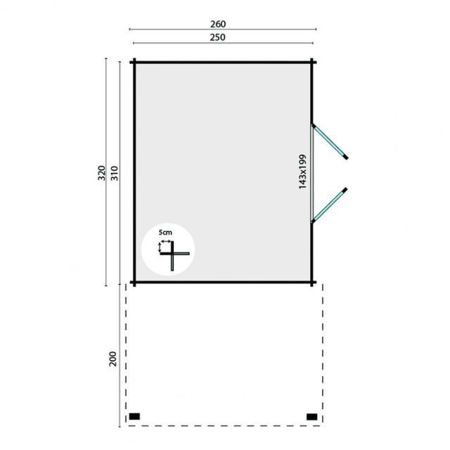 Blokhut Extramodern Plat dak 40.0789
