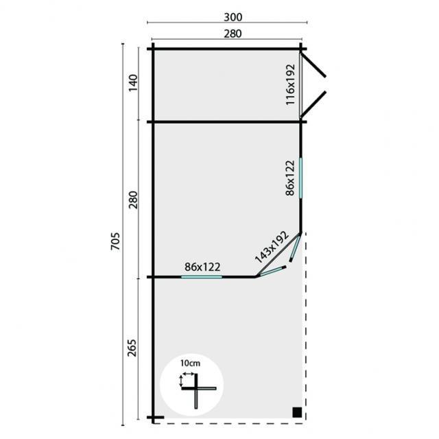 Blokhut Olson Piramidedak 40.0726